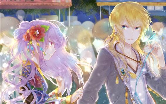 壁紙 二人のアニメの女の子、輝き