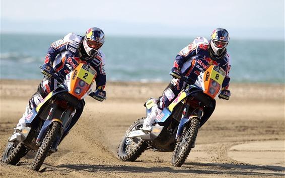 壁紙 2台のオートバイ、スポーツ、レース