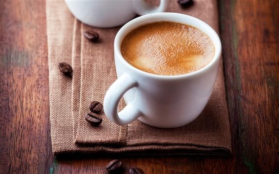Fondos de pantalla Taza blanca, café, espuma, toalla.