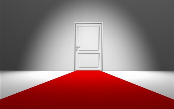 Fondos de pantalla Puerta blanca, alfombra roja, diseño creativo
