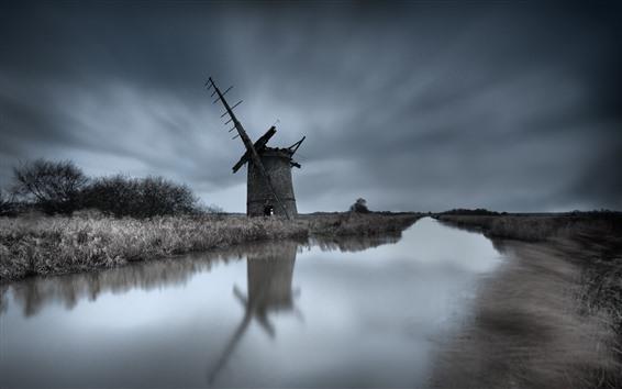 Wallpaper Windmill, ruins, river, grass, dusk