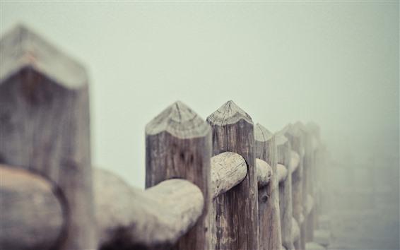 Papéis de Parede Cerca de madeira, nevoeiro, manhã