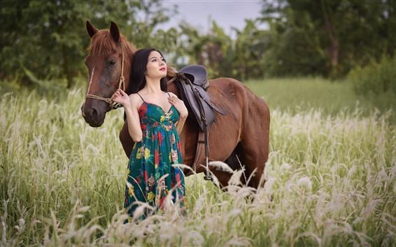 Wallpaper Asian girl and brown horse, skirt, grass, summer