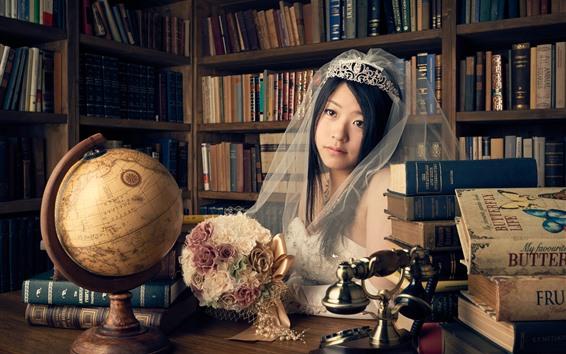 Wallpaper Asian girl, bride, veil, books, flowers
