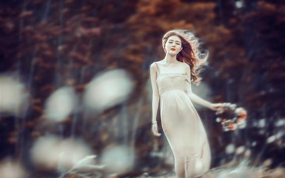 Papéis de Parede Menina asiática no vento, saia, árvores
