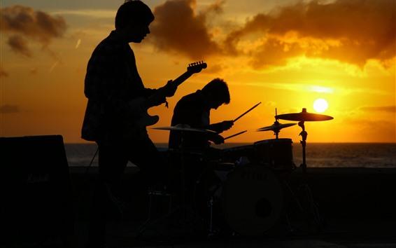 壁紙 バンド、音楽、人、日没、シルエット