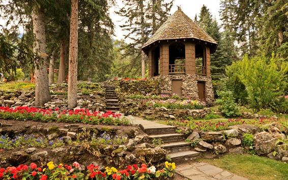 Papéis de Parede Parque Nacional Banff, jardim, gazebo, árvores, Canadá
