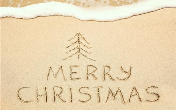 壁紙 ビーチ、砂浜、メリークリスマス、泡
