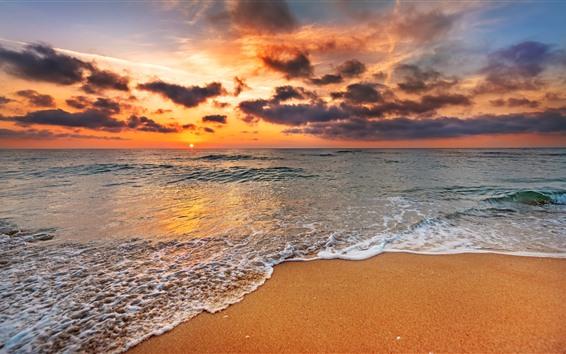 Papéis de Parede Praia, pôr do sol, espuma, mar