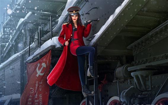 Fondos de pantalla Hermosa chica rusa, tren, abrigo rojo, invierno, cuadro de arte