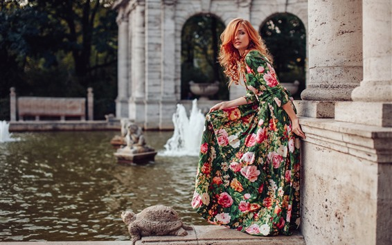 Wallpaper Beautiful girl, hairstyle, colorful skirt, pose, fountain
