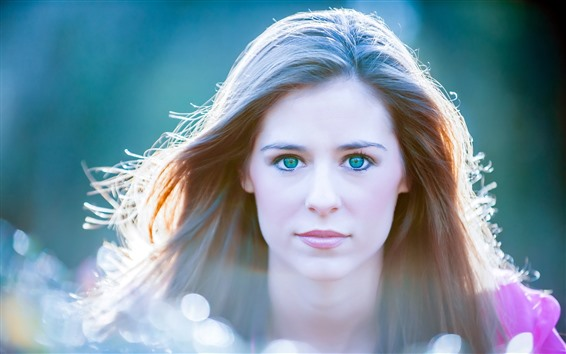 Wallpaper Blue eyes girl, hair, backlight