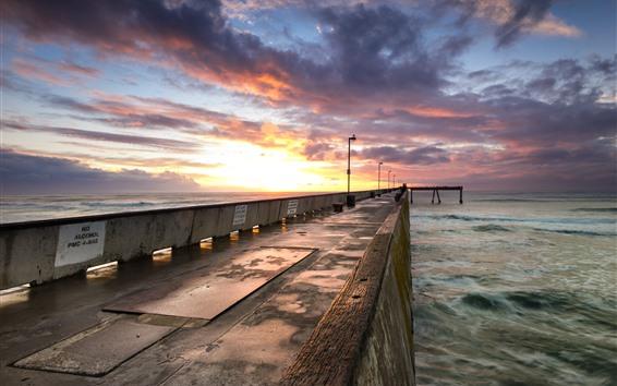 Wallpaper Breakwater, sea, clouds, sunset