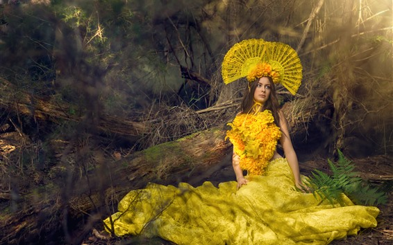 Wallpaper Brown hair girl, fashion, yellow flowers skirt, decoration