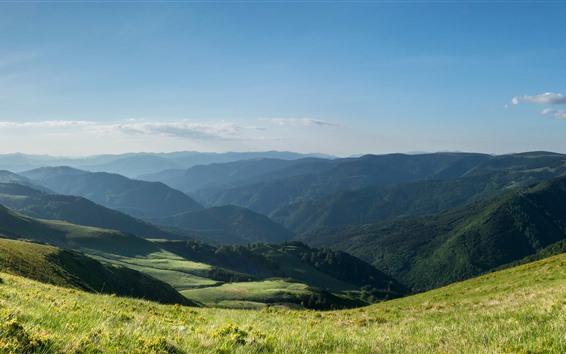 배경 화면 불가리아, 산, 잔디, 자연 경관
