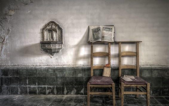 Wallpaper Chairs, room, wall, book, dust