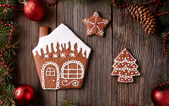Wallpaper Christmas balls, cookies, house, tree, decoration