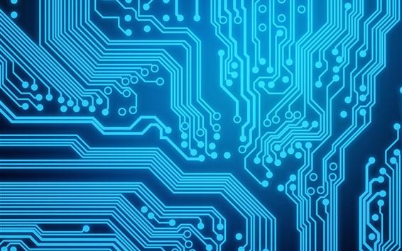 壁紙 回路基板、青い線
