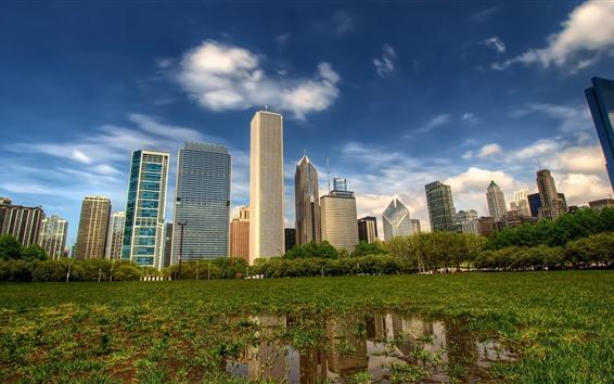 Обои Город, небоскребы, деревья, трава, вода