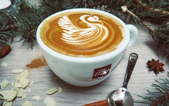 Fond d'écran Café, cappuccino, cuillère, brindilles de pin
