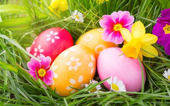 壁紙 カラフルなイースターの卵、花、草