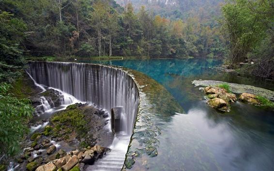 壁紙 クロアチア、滝、木、湖、石