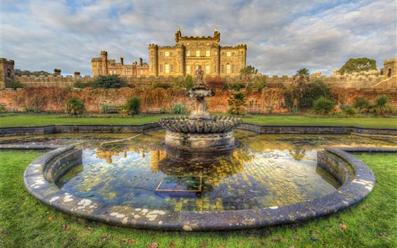 Wallpaper Culzean Castle, fountain, meadow, Scotland, HDR style