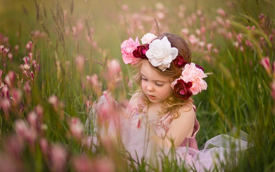 Wallpaper Cute little girl, child, wreath, flowers, grass