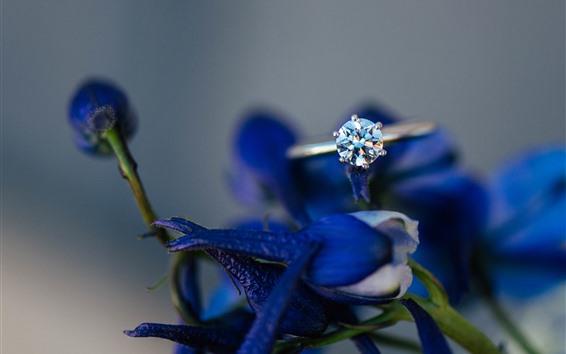 Fondos de pantalla Anillo de diamantes, flores azules, nebuloso