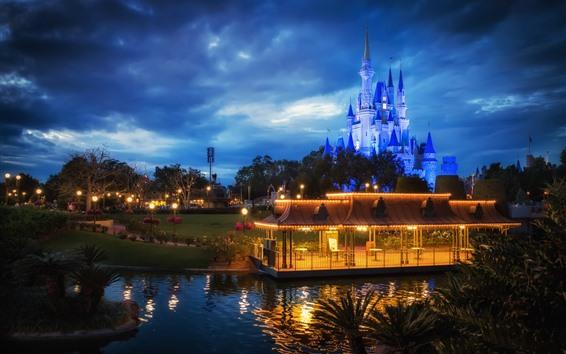 Papéis de Parede Disneyland, castelo, noite, luzes, gazebo, nuvens