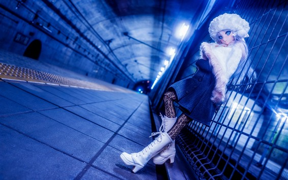 壁紙 人形、女の子、おもちゃ、フェンス、トンネル