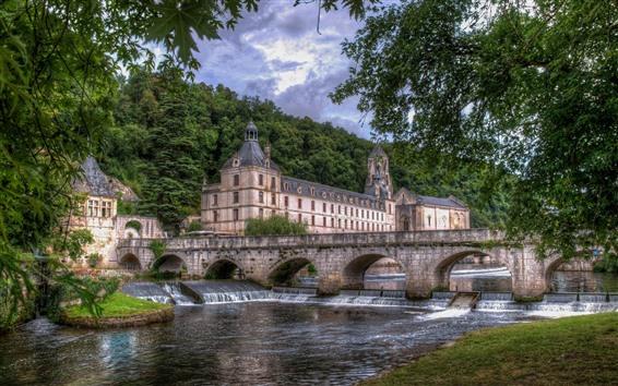 Обои Франция, мост, река, замок, деревья, зеленый