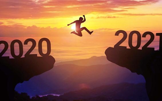 Papéis de Parede Do ano de 2020 ao ano novo de 2021, pulando, amanhecer