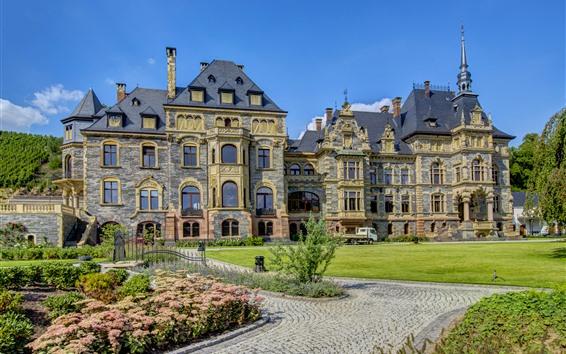 Обои Германия, замок, луг, цветы