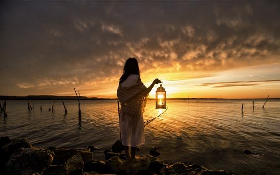 Wallpaper Girl, back view, lantern, sea, sunset, clouds