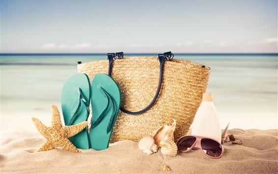 壁紙 ハンドバッグ、ヒトデ、ビーチサンダル、ビーチ