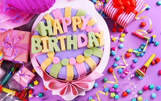 배경 화면 생일 축하 케이크, 화려한, 별, 선물