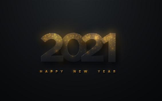 Fond d'écran Bonne année 2021, fond noir, lumière dorée