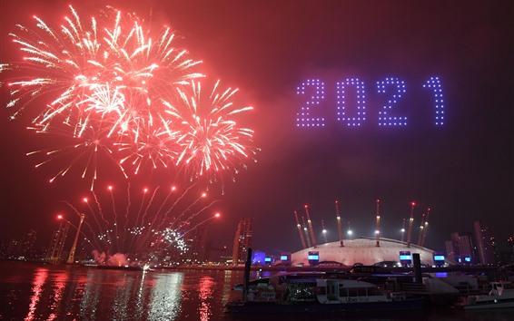 Обои С Новым Годом 2021, город, ночь, салют, река