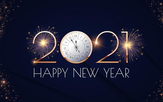 壁紙 明けましておめでとうございます2021、時計、花火、輝き