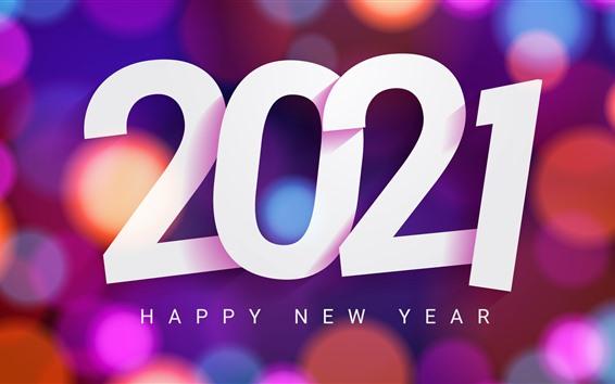 Papéis de Parede Feliz Ano Novo de 2021, fundo colorido com círculos de luz