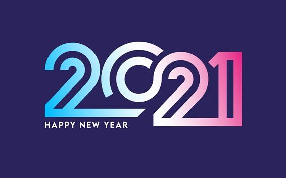 Wallpaper Happy New Year 2021, colorful numerics