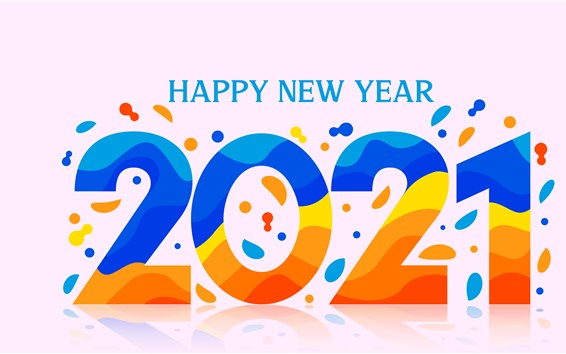 Wallpaper Happy New Year 2021, colorful vector