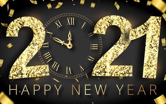 Papéis de Parede Feliz Ano Novo 2021, estilo dourado, relógio