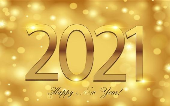 Fondos de pantalla Feliz año nuevo 2021, estilo dorado, brillo.