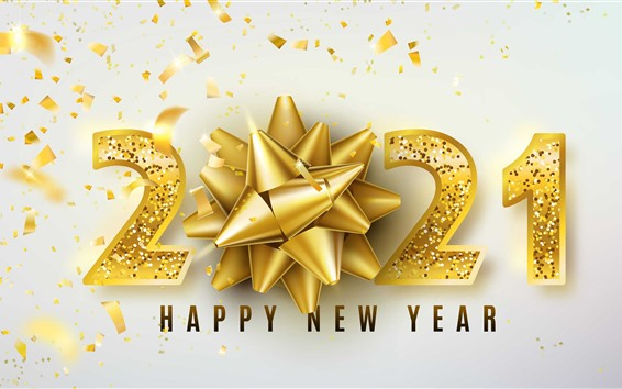 Wallpaper Happy New Year 2021, golden style