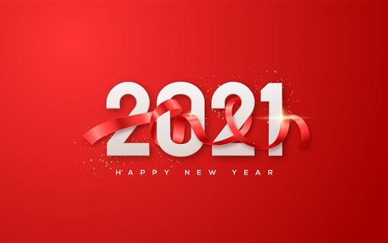 Fond d'écran Bonne année 2021, fond rouge, ruban