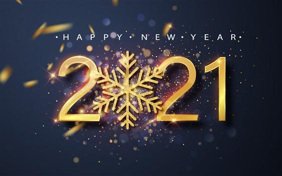 배경 화면 새해 복 많이 받으세요 2021, 눈송이, 광택, 황금색