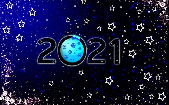 Wallpaper Happy New Year 2021, stars, flowers, snowflakes