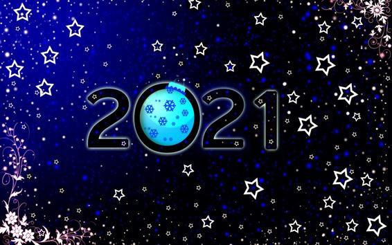 壁紙 明けましておめでとうございます2021、星、花、雪片